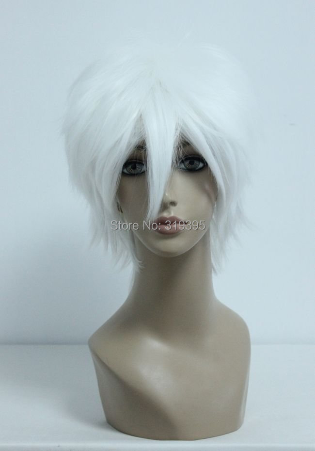 Cosplay Costume Wigs Death Note Near Silver Soul Sakata Gintoki Short Party Hair 32cm white(China (Mainland))