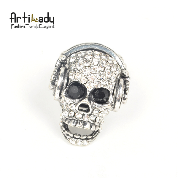 Artilady vintage crystal antic silver plating skull ring adjustable music  skeleton ring