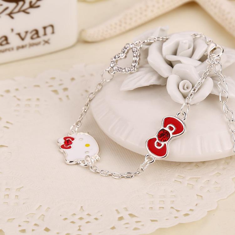 Hello kitty Crystal bracelets women bangle imitation diamond bowknot pendant siver hand chain female jewelry girl gift wholesale(China (Mainland))