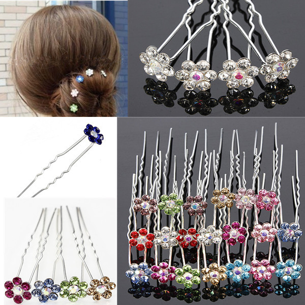 Wholesale 20PCS Wedding Bridal Hair Pins Flower Crystal Hair Clips Bridesmaid Jewelry U Pick Free Shipping(China (Mainland))