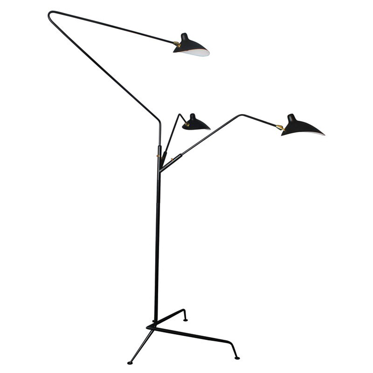 standing lamp 3 arms by serge mouille floor light contemporary. Black Bedroom Furniture Sets. Home Design Ideas