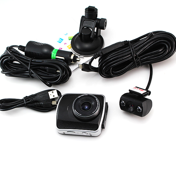Newest Car DVR camera tachograph 1080P HD wide-angle night vision Dual Lens Mini Car Parking Recorder Video monitor one machine(China (Mainland))