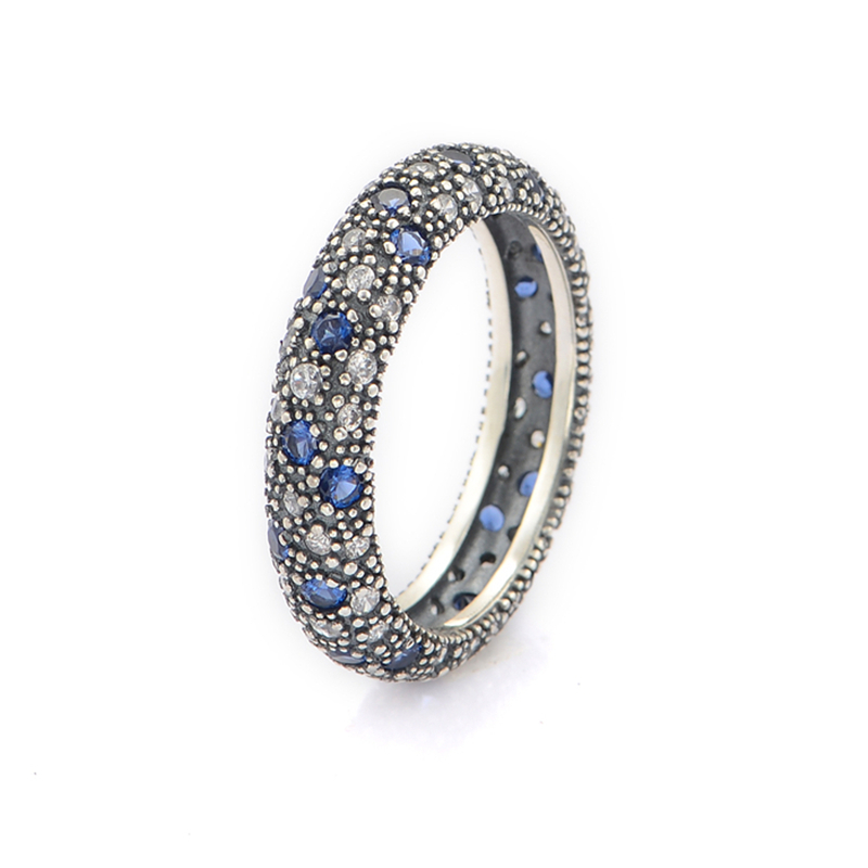 Fit Pandora Jewelry Midnight Blue Crystal Silver Ring New Original Authentic 925 Sterling Silver Ring Free Shipping