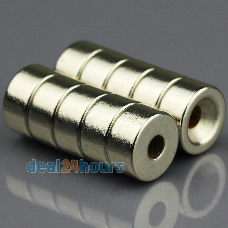 Гаджет  10PCS Super Strong Round Neodymium Countersunk Ring Magnets 10mm x 5mm Hole: 3mm Rare Earth N50 Free Shipping None Строительство и Недвижимость