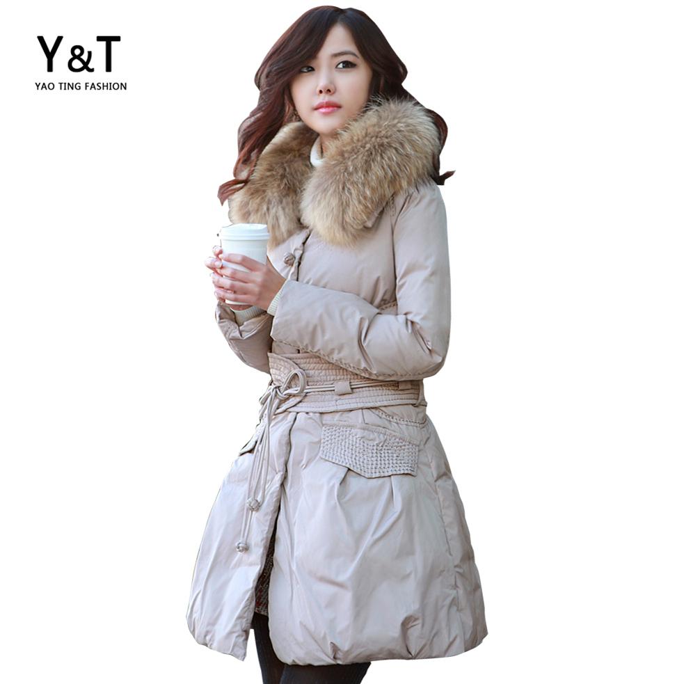 Brand Fur Collar Parka Winter Jacket Women Coat Cotton Wadded Big Size Ladies Female Long Overcoat