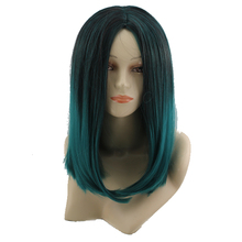 Women hair wigs harajuku Black Mixed Green Wig heat resistant hair wig synthetic ombre cosplay wigs female pear fashion gradient(China (Mainland))