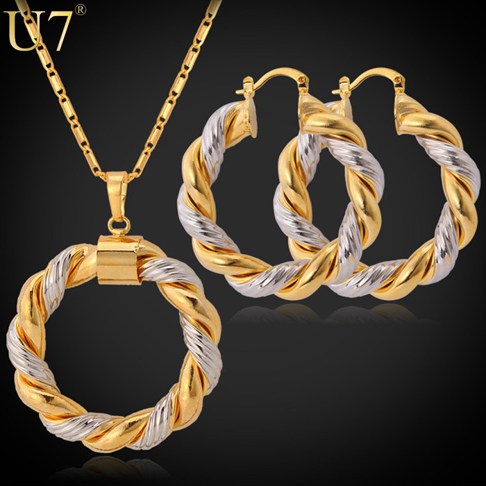 2015 Unique Design Necklace Set Mix Platinum/18K Real Gold Plated Trendy Round Pendant Necklace Earrings Women Jewelry Set S544(China (Mainland))