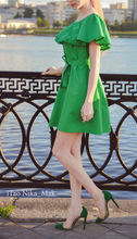 2015 Summer dress with ruffles Off  the Shoulder ruffle Dress Gagaopt Slash Butterfly Sleeve Cotton vestidos with belt  7 COLORS(China (Mainland))