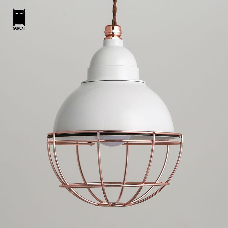 Iron White Painting Round Pendant Light Fixture Modern Nordic Scandinavian Bulb Cage Hanging Lamp Luminaria for Dinning Room(China (Mainland))