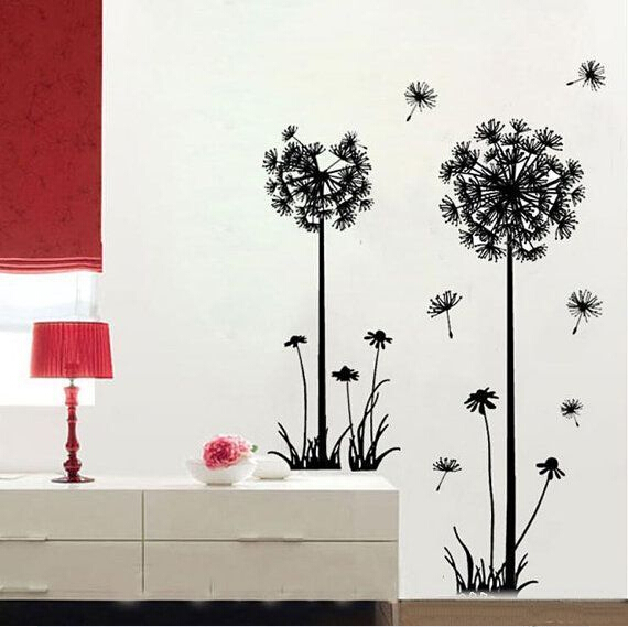 2015 creative dandelion removable wall stickers living room, decorated with flowers wall decals(China (Mainland))
