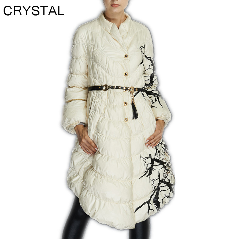 CRYSTAL- High Quality Parka Coat For Women 90% White Down Long Thickening Plus Size Overcoat  2015 New Arrivals S M L XL Одежда и ак�е��уары<br><br><br>Aliexpress