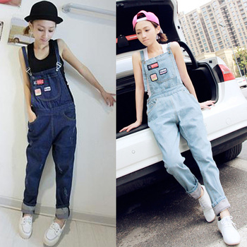 Women's bib pants ankle length trousers loose jeans plus size one piece spaghetti strap pants overalls Free shipping