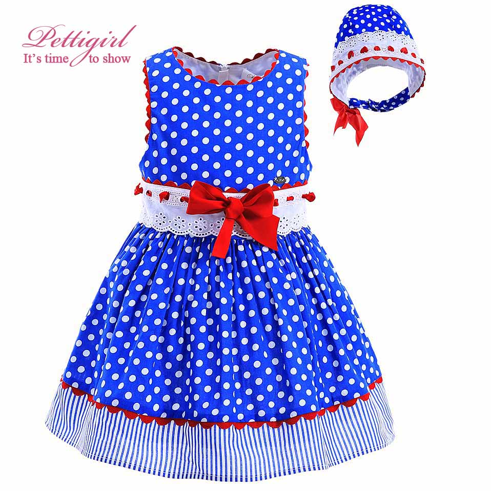 Pettigirl New Blue Polka Dot Baby Girl Dress Hand Made Lace With Red Bow Headband Toddler Boutique Kids Clothing G-DMGD905-772(China (Mainland))