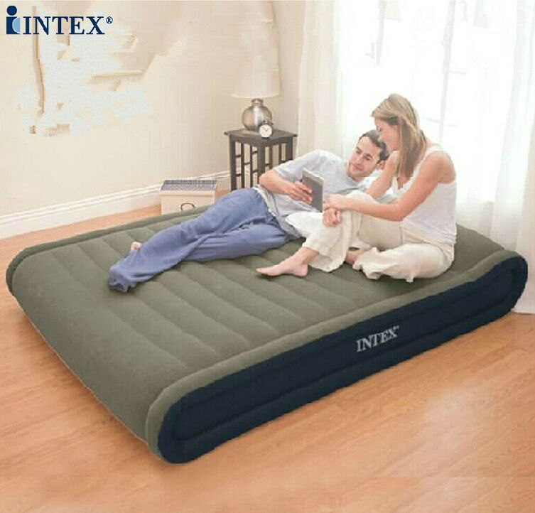 Free shipping Intex 67726 Super deluxe inflatable mattress,Luxury built-in air bed pillow, ,size 152X203X41cm(China (Mainland))