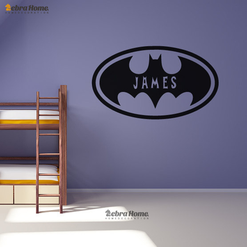 Batman oval personalised customized name wall stickers for Batman bedroom wall mural