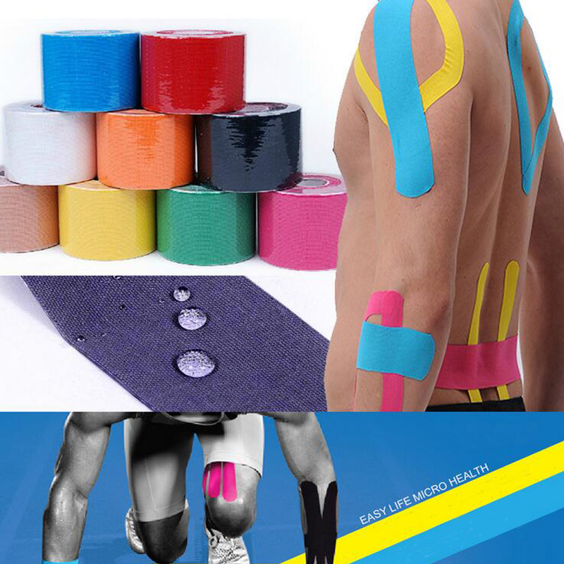 1 Roll 5m x 5cm Kinesiology Tape,Waterproof Elastic Physio Therapy Muscle Tape,Sports Safety Tape Bandage Strain Injury Support(China (Mainland))