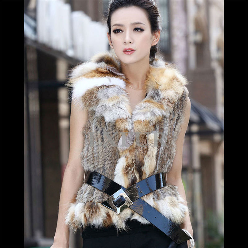 Hot Classic Genuine Knitted Rabbit Fur Vest Fox Collar Womens Slimming Gilet / Waistcoat S - 4XL LX00083