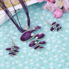 2017 Fashion Jewelry Set Purple Leather Rope Chain Multilayer Necklace Earrings Jewelry Set Factory Wholesale Price Boho Jewelry(China (Mainland))