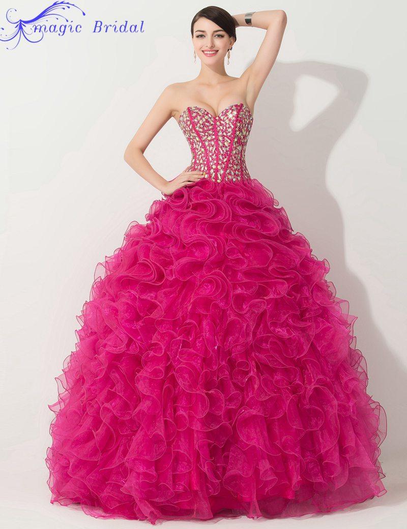 Vestidos De Quinceaneras 2015 Hot Pink Quinceanera Dresses