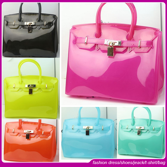 2015 famous brand Beautiful Promotional Fashion PVC Candy Jelly Bag Silicone Bag(China (Mainland))