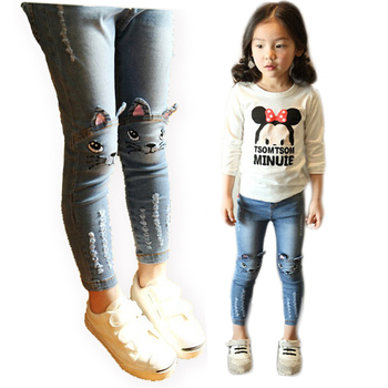 New Kids girls jeans pants Spring Autumn cute cat embroidery jeans pants children pants kids Warm jeans leggings for girls 2-12Y