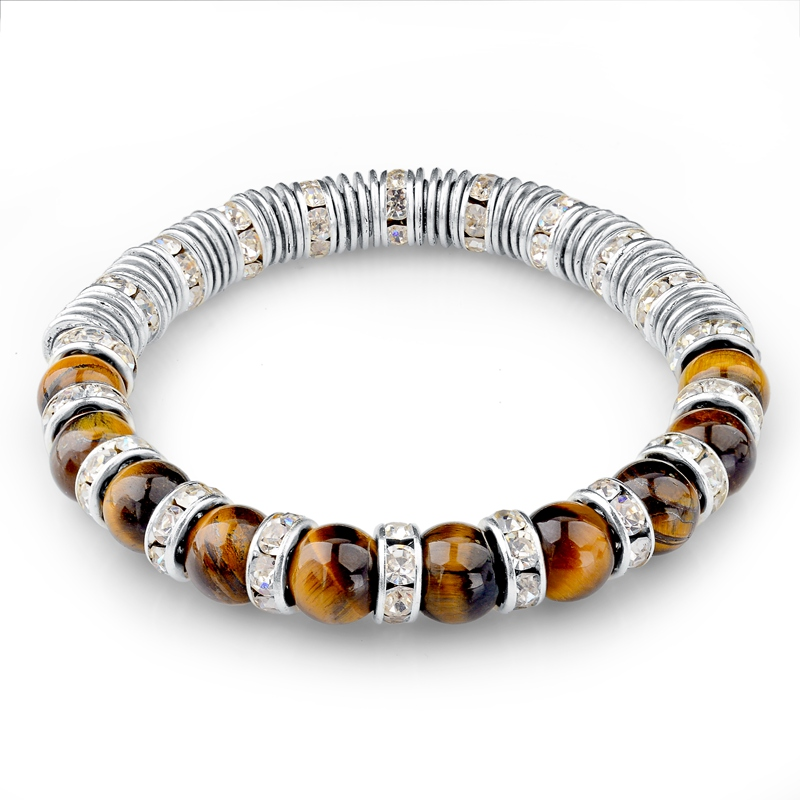 Tiger Eye Natural Stone Bracelets For Women And Men Jewelry Elastic Rope Chain Crystal Silver Charm Bracelets Bangles SBR150219(China (Mainland))