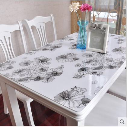 Soft Class Table Mat Transparent Plastic Table Cloth Modern Design Floral Crystal Plate Plastic Table Runners Toalha De Mesa(China (Mainland))