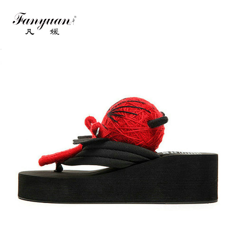 2017 Summer Women Slippers Cute Voodoo Doll High Wedge Platform Sandals Casual Flip Flops Handemade Fancy Slippers(China (Mainland))