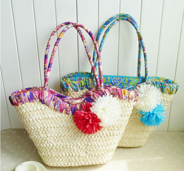 Crochet Straw Beach Bag Tutorial And Pattern : 2015 Handmade Crocheted Straw Beach Bag Knitting Womens ...