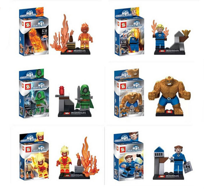 2014 new 8pcs/lot Fantastic Four action figures Building Blocks minifigures classical toy best toy for kids free shipping(China (Mainland))
