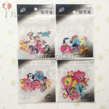 My Little Pony Cartoon Individual clothes decoration DIY Iron Sticker 6pcs/lot for Girls Iron On Heat Transfer Glitter Stickers(China (Mainland))
