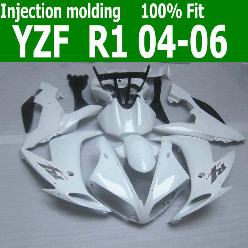 Injection molding for YAMAHA R1 fairing kit 2004 2005 2006 all glossy white fairings set 04 05 06 YZF R1 MX19(China (Mainland))