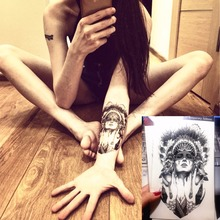 Flash Temporary Tattoo Sticker Indian Warrior 12*20cm Waterproof Harajuku Henna Beauty Summer Style Body Art FREE SHIPPIING