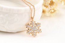 ROXI Jewelry Platinum rose gold Plated Statement Elegant Snowflake Necklace For Women Party wedding pendant