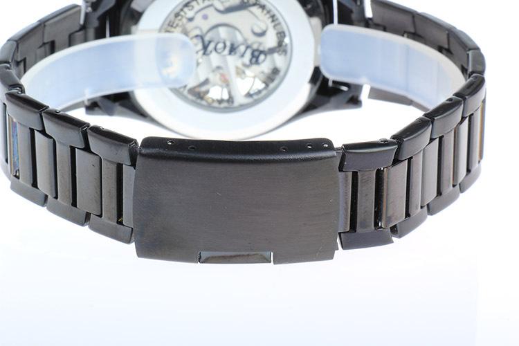 BIAOKA 3d Дизайн Логотипа Синий выпуклое стекло Полые Гравировка Кожи Стальной Каркас Механические Часы женщины Бренд Relojes Mujer