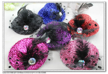 12 pcs per lot 3.9 inch 6 color  feather & net yarn bow lady mini top hats sexy hair clips party headdress H90491 free shipping