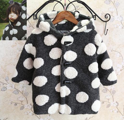 Новый 2015 год зима детская одежда девушки ребенка милый горошек одежда дети бэби берберский руно пальто пальто шерстяной смеси
