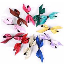 Silky Solid Color Ribbon Black Bottom Cloth Knotted Bow Barrettes Girls Hair Pins and Clips for Women Headwear Accessories