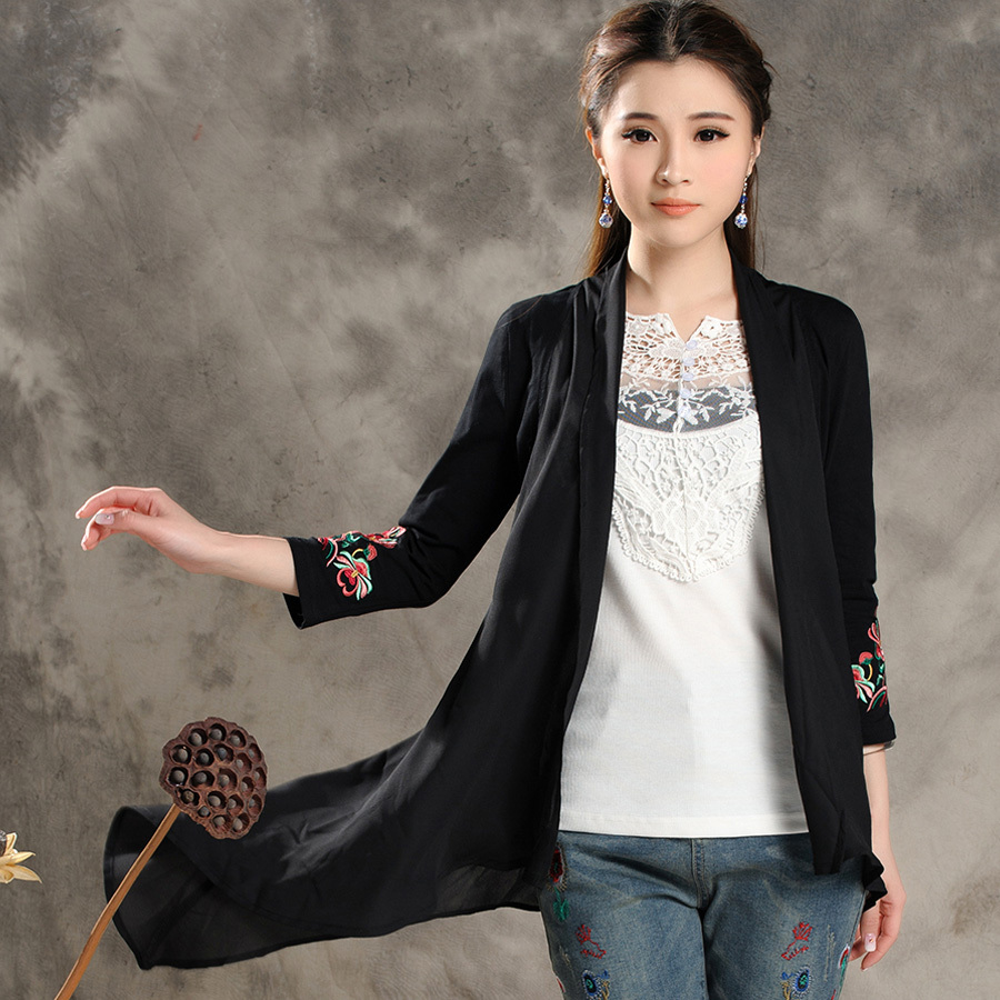 Spring And Autumn New Cotton Seven-sleeved Cardigan Coat Women's Casual Irregular Ethnic Style Embroidery N2012(China (Mainland))