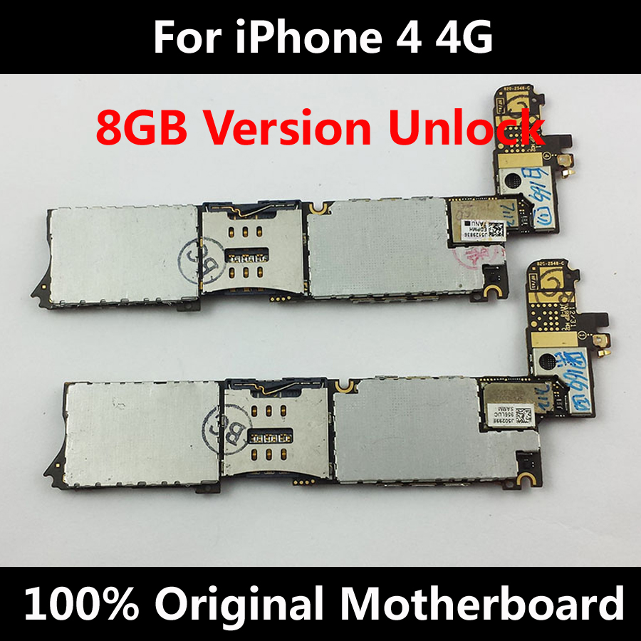 Low Price 100% Original Official Motherboard Unlocked For iPhone 4 4G Good Working Mainboard 8GB With Full Chips IOS Logic Board(China (Mainland))