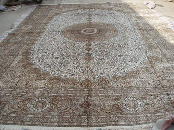 Brown White100%Handmade Nain Center Medallion Floral Design Large Persian Silk Carpet12x18ft Church Carpet Muslim carpet On Sale