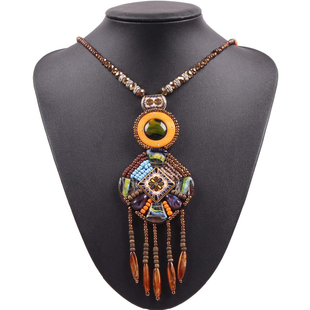 2016 Autumn New Design Long Chain Bead Tassel Vintage Tibetan Style Pendant Necklace Jewelry For