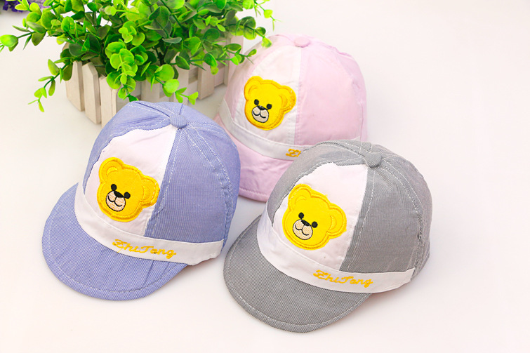 2016 Fashion baby kids little bear baseball caps kid girls boys cartoon peaked cap hats summer outdoor visor hat(China (Mainland))