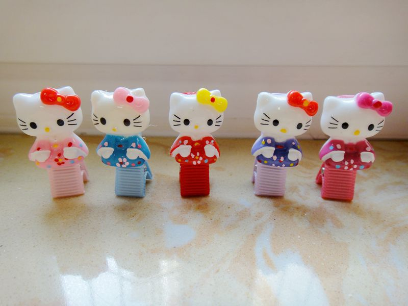 2pcs/lot cute candy color resin hello kitty cat baby girls hair accessories headwear for kids children fashion hair clip hairpin(China (Mainland))