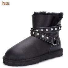 INOE fashion genuine sheepskin leather short ankle winter snow boots with buckle strap for women nature fur lined winter shoes(China (Mainland))