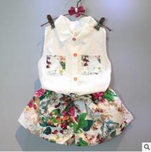 Kids girls summer 2016 new Korean children big virgin two – piece summer floral sleeveless shirt + shorts suit short pants