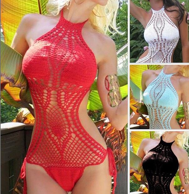 Knit Monokini Lined Swimwear Womens One Piece Swimsuit Bathing Suit ...