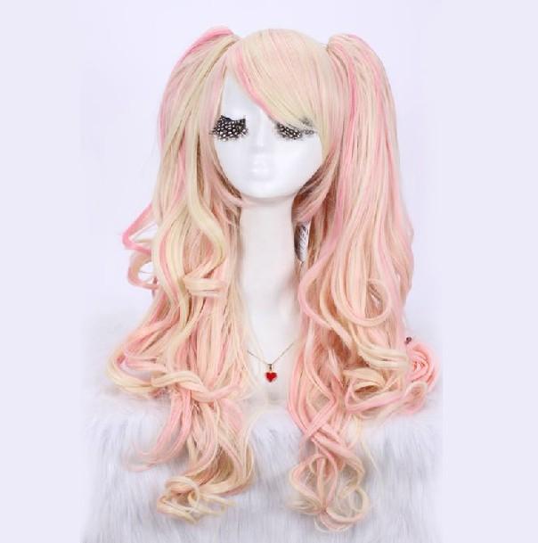 Здесь можно купить  multi color blonde/pink Lolita cosplay long wavy hair with fluffy clip animation cosplay wig Free Shipping  Волосы и аксессуары