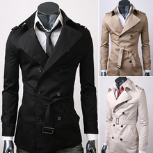 2015 Trench Coat Men Double Breasted Slim Outerwear Casual Overcoat Men Long Coat Jacket Windbreaker Asia/Tag Size M-XXL(China (Mainland))