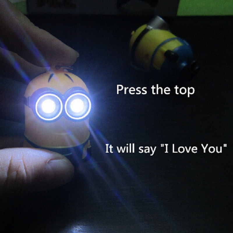2016 Hot Selling New Minions Toy LED Talking Keychain Despicable Me Press Button Say I Love You For Christmas Gift Free shipping(China (Mainland))